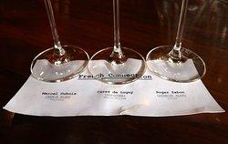 Old City Wine Bar, 108 W Jackson Ave, Knoxville, TN - French Connection Wine Flight: Marcel Dubois Vouvray (Chenin Blanc), Caves de Lugny Mâcon-Fuissé (Chardonnay) and Roger Sabon Lirac (Grenache blend)
