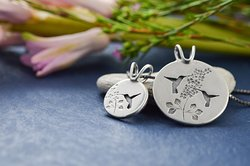 Recycled sterling silver Hummingbird Garden Pendants by Beth Millner Jewelry