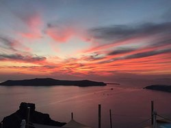 Spectacular sunset from Fira