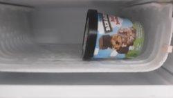 Old ice cream left in the freezer