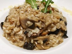 Mushrooms risotto with black truffle oil and Parmesan!