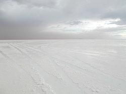 "A ""wet salar"" area on the Salt Flat seen from the tour SUV (while on the way to the sixth stop)"
