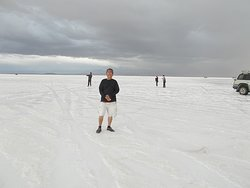 "At a ""wet salar"" area on the Salt Flat (the sixth stop)"