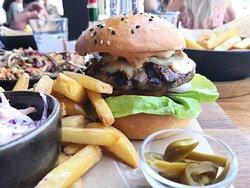 Close up of the 1762 burger