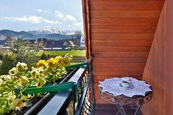Pokój z balkonem z widokiem na Tatry