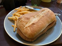 Ciabatta Chicken Sandwich and fries at Lindsay's Cafe.