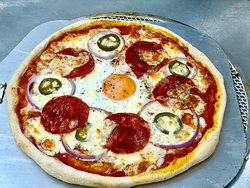 Pepperoni Pizza with Egg
