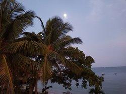 Moon setting into the sea at dawn