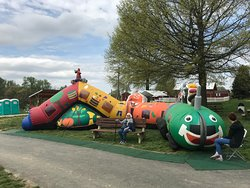 Milburn Orchards Inflatable play during egg hunts
