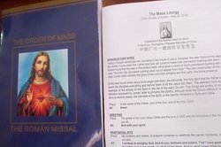 Missal and hand-out for the 3.30 pm Mass on Sunday May 26 2019