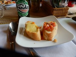 Bruschetta, Garlic Bread with Cheese and Tomatoes