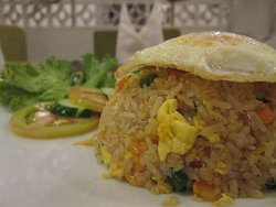 Fried rice with a fried egg on top!