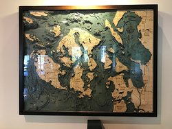 A cool map that features the San Juan Islands to the left.