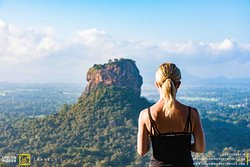 Enjoying the view of Sigiriya from the Pidurangala Mountain.