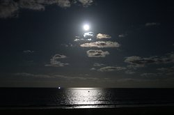 Full moon view over the ocean. Taken from our patio