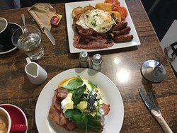 Eggs Benedict and big breakfast