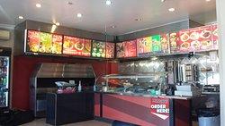 Counter, menu and food preparation area
