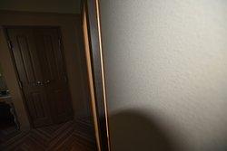 Large gap around non locking bathroom door.