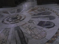 The circular mosaic in front of the high altar - detail.