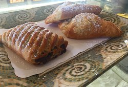 Chocolate and almond croissants