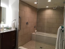 Master Bath.  Both the shower and the tub are encased together behind a glass petition.
