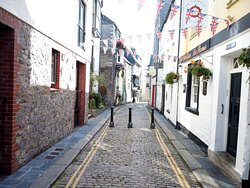 The cobbled streets still retain some of the historic Barbican