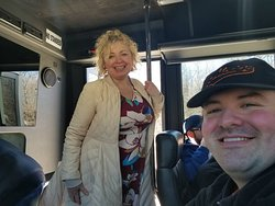 Ursula  on a ghost bus tour!