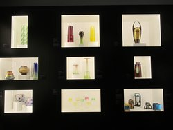 Beautifully displayed art nouveau glass and ceramics