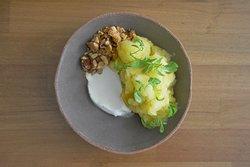 Pineapple and ginger granita, rum coconut cream, roasted pineapple, almond praline, huacatay