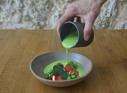Chilled pea & kombucha soup, pickled strawberry, cashew cream, walnuts soil