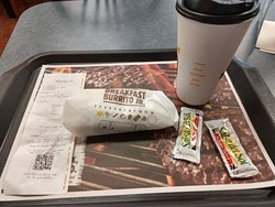 Breakfast Burrito Jr and coffee
