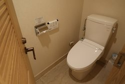 The toilet has its own room, Room 2501