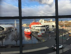 View through double-glazed window to Hobart waterfront.