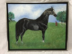 Naive Oil Painting Prized Thoroughbred Equestrian Black Horse Animal Portrait