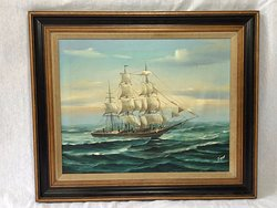 Old Marine Nautical Oil Painting Clipper Tall Sailing Ship After Alex Breede