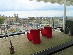 Outdoor terrace overlooking Edinburgh.