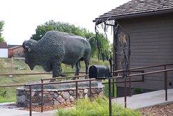 A statue of a buffalo