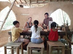 Learning in bamboo workshop.