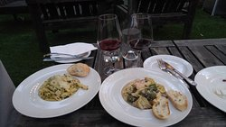 Pasta and chicken with tarragon sauce, tortellini with shrimp/mushrooms in a light coconut sauce