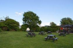 Spacious beer garden