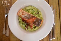 Salmon with pesto & herb risotto