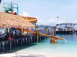 Jetty with waterslide