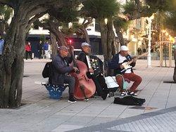 A great jazz trio (the accordion made it very unusual) on the promenade in San Sebastian.