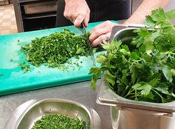 We cook with fresh herbs