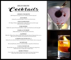 New menu of Prohibition Style Cocktails