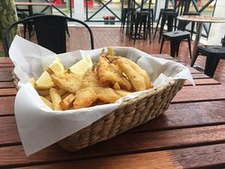 Whiting & Chips in the Courtyard