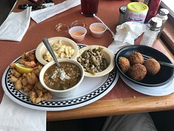 Boudin balls, gumbo, fried shrimp and fish