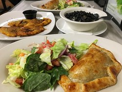 This was the Empanada, black beans & Rice with a side of Plantains.