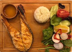 grilled salmon grilled sea bass