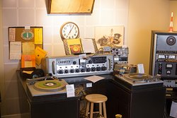 Diorama of a 1950's radio studio. Authentic in every detail.
